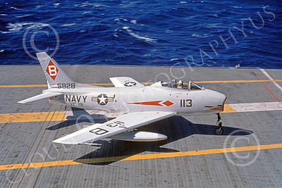 FJ Fury USN 00018 A USN North American FJ Fury 5828 VF-191 SATAN'S KITTENS on an aircraft carrier military airplane picture 5-1963 by Clay Janson