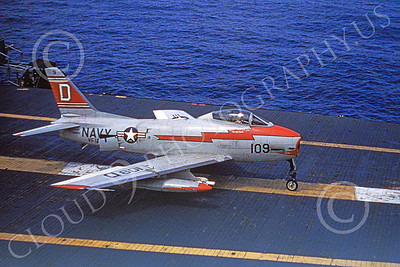 FJ Fury USN 00015 A USN North American FJ Fury on an aircraft carrier military airplane picture by Don Miller