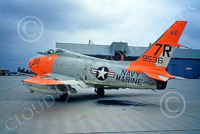 FJ Fury USN 00017 A static DAYGLO marked USN North American FJ-4B Fury 9536 12-1979 military airplane picture by Clay Janson