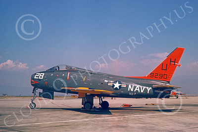 FJ Fury USN 00020 A static USN North American FJ-4B Fury 9290 VU-7 military airplane picture 8-1967 by Clay Janson