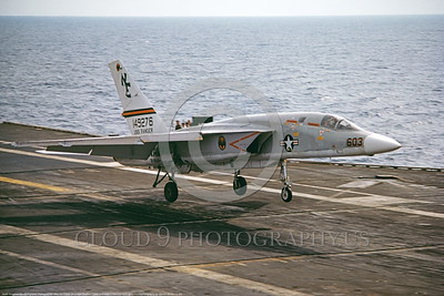 RA-5C-RVAH-13 002 A North American RA-5C Vigilante USN 149276 RVAH-13 BATS USS Ranger traps on an aircraft carrier 11-1974 military airplane picture by Stephen Crane     DONEwt