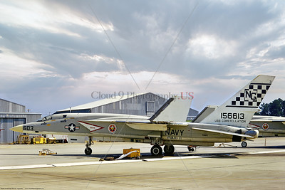 RA-5C-RVAH-11 001 A static North American RA-5C Vigilante, USN supersonic recon aircraft, 156613, RVAH-11 CHECKERTAILS, 6-1969 Eindhoven, via Stephen W  D  Wolf coll    853_6077   Dt