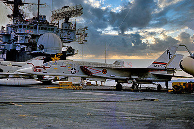 RA-5C-RVAH-13 003 A static North American RA-5C Vigilante, USN supersonic recon aircraft, 14927, RVAH-3 BATS, 11-1975 Portsmouth, military airplane picture by Stephen W  D  Wolf  CCC_0129   Dt
