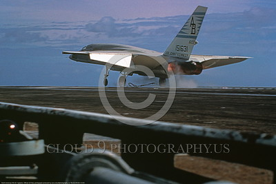 RA-5C-RVAH-13 001 A North American RA-5C Vigilante USN 151631 RVAH-14 EAGLE EYES USS John F Kennedy takes-off from an aircraft carrier in afterburner, official USN photograph produced by www cloud9photography us     DONEwt