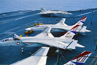 RA-5C-RVAH-12 005 Three static North American RA-5C Vigilantes, USN supersonic recon aircraft, 156639, RVAH-12 SPEARTIPS, USS Saratoga, 1-1979 on board USS Saratoga, military airplane picture via Stephen W  D  Wolf coll    GGG_0055   Dt