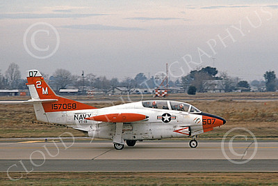 T-2USN 00013 A taxing North American Aviation T-2C Buckeye USN 157058 VT-19 FROGS McClelland AFB 1-1975 military airplane picture by Peter B Lewis