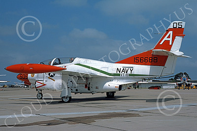 T-2USN 00029 A static North American Aviation T-2C Buckeye USN 156688 VT-19 FROGS NAS Miramar 8-1985 military airplane picture by Michael Grove, Sr