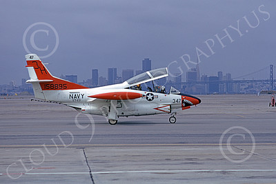 T-2USN 00009 A taxing North American Aviation T-2C Buckeye USN 158895 VT-23 PROFESSIONALS 3H code NAS Alameda 10-1973 military airplane picture by Michael Grove, Sr