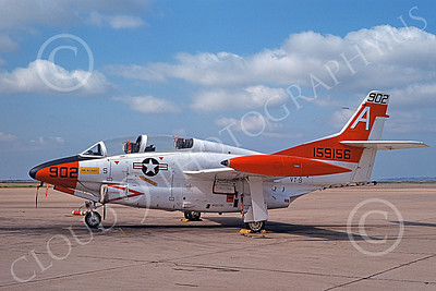 T-2USN 00037 A static North American Aviation T-2C Buckeye USN 159156 VT-9 TIGERS 8-1975 military airplane picture by Michael Grove, Sr