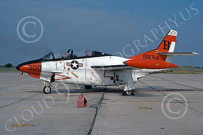 T-2USN 00027 A static North American Aviation T-2C Buckeye USN 158314 VT-23 PROFESSIONALS B code NAS Kingsville 8-1984 military airplane picture by Allen Mullen