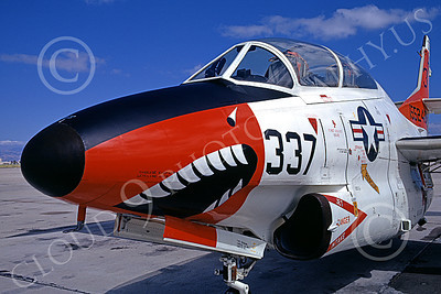 T-2USN 00011 Close up of a sharkmouth nose of a static North American Aviation T-2C Buckeye USN NAS Moffett 6-1973 military airplane picture by Michael Grove, Sr