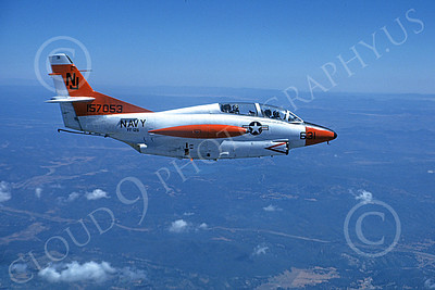 T-2USN 00008 A flying North American Aviation T-2C Buckeye USN 157053 VF-126 FIGHTING SEA HAWKS NJ code jet trainer 7-1980 military airplane picture by Robert L Lawson