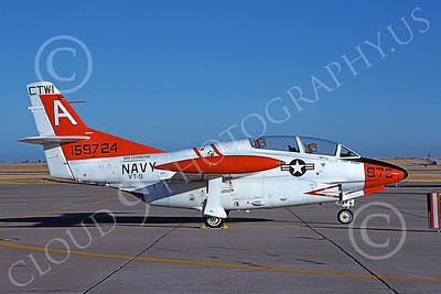T-2USN 00031 A static North American Aviation T-2C Buckeye USN 159724 VT-9 TIGERS USS Lexington Travis AFB 8-1983 military airplane picture by Carl E Porter