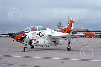 T-2USN 00021 A static sharkmouth North American Aviation T-2C Buckeye USN 158894 NAS Miramar 1-1976 military airplane picture by Michael Grove, Sr