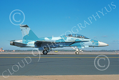 McDonnell Douglas F-18B-USN 00015 A taxing blue McDonnell Douglas F-18B Hornet USN 162408 VFC-12 OMARS NAS Oceana 1-1994 military airplane picture by Michael Grove, Sr