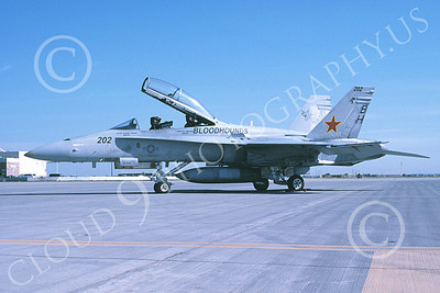 McDonnell Douglas F-18B-USN 00013 A static McDonnell Douglas F-18B Hornet USN VX-30 BLOODHOUNDS NAS Lemoore 11-2005 military airplane picture by Michael Grove, Sr