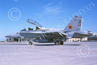 McDonnell Douglas F-18B-USN 00011 A static McDonnell Douglas F-18B Hornet USN 162857 VX-30 BLOODHOUNDS NAS Lemoore 11-2005 military airplane picture by Michael Grove, Sr