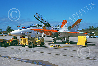 McDonnell Douglas F-18B-USN 00009 A static white and orange McDonnell Douglas F-18B Hornet USN 160781 NAS Pax River 10-1982 military airplane picture by Alan G Vandam