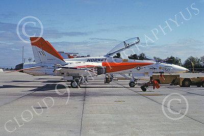 McDonnell Douglas TF-18A-USN 00001 A static white and orange McDonnell Douglas TF-18A Hornet USN 160781 NAS Pax River 10-1982 military airplane picture by David Ostrowski