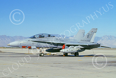 McDonnell Douglas F-18B-USN 00007 A static McDonnell Douglas F-18B Hornet USN jet fighter NAWC Weapons Test NAS China Lake 10-1997 military airplane picture by Clark Hansen