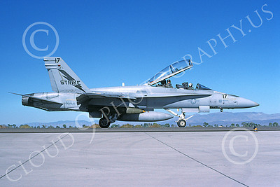 McDonnell Douglas F-18B-USN 00023 A taxing McDonnell Douglas F-18B Hornet USN 161707 STRIKE with bomb NAS Fallon 11-1994 military airplane picture by Michael Grove, Sr