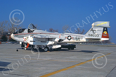 EA-6BUSN 00307 A static Grumman EA-6B Prowler USN 158033 VAQ-136 GAUNTLETS USS Saratoga NAF Washington 4-1979 military airplane picture by Michael Grove, Sr