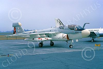 EA-6BUSN 00311 A static Grumman EA-6B Prowler USN 158802 VAQ-133 WIZARDS USS America 8-1976 military airplane picture by Michael Grove, Sr