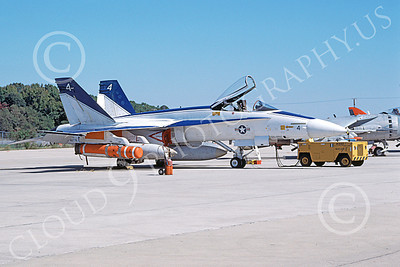 McDonnell Douglas F-18A-USN 00023 A static white and blue McDonnell Douglas F-18A Hornet USN 160778 NAS Pax River 10-1985 military airplane picture by Ray Leader