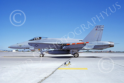 McDonnell Douglas F-18A-USN 00043 A static McDonnell Douglas F-18A Hornet jet fighter USN 162429 VX-5 VAMPIRES XE code NAS Fallon 6-1985 military airplane picture by Michael Grove, Sr