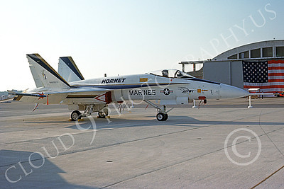 McDonnell Douglas F-18A-USN 00029 A static white and blue McDonnell Douglas F-18A Hornet USN 160775 NAS Pax River 9-1982 military airplane picture by Stephen H Miller