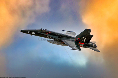 """F-18A-USN-VFA-204 001 A flying McDonnell Douglas F-18A Hornet, USN jet fighter, VFA-204 RIVER RATTLERS,  in """"Centennial of Naval Aviation 2011"""" markings, via Tailhook Assoc, produced by Cloud 9 Photography  T"""