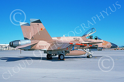 McDonnell Douglas F-18A-USN 00047 A static brown McDonnell Douglas F-18A Hornet USN 161759 VFC-13 SAINTS NAS Fallon 6-1995 military airplane picture by Michael Grove, Sr