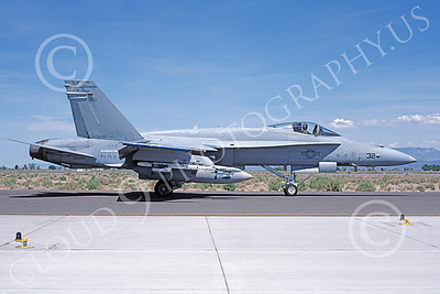 McDonnell Douglas F-18A-USN 00045 A taxing McDonnell Douglas F-18A Hornet jet fighter USN 161958 VX-5 VAMPIRES XE code NAS Fallon 5-1982 military airplane picture by Michael Grove, Sr