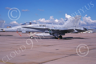 TOPG 00059 A static McDonnell Douglas F-18A Hornet USN 161731 NFWS Naval Fighter Weapon School TOP GUN NAS Miramar 2-1995 military airplane picture by Jim Harney