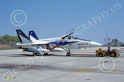McDonnell Douglas F-18A-USN 00027 A towed white and blue McDonnell Douglas F-18A Hornet USN 160778 NAS Pax River 5-1982 military airplane picture by Stephen H Miller