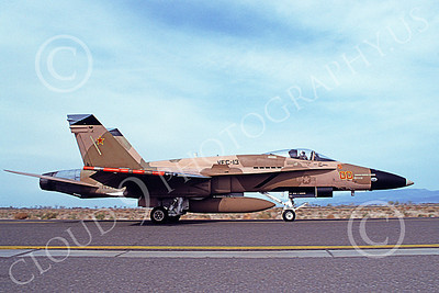 McDonnell Douglas F-18A-USN 00067 A taxing brown McDonnell Douglas F-18A Hornet USN 162475 VFC-13 SAINTS NAS Fallon 4-1994 military airplane picture by Michael Grove, Sr