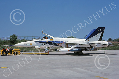 McDonnell Douglas F-18A-USN 00025 A towed white and blue McDonnell Douglas F-18A Hornet USN 160778 NAS Pax River 5-1982 military airplane picture by Michael Grove, Sr