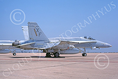 McDonnell Douglas F-18A-USN 00035 A static McDonnell Douglas F-18A Hornet USN 161213 VX-4 THE EVALUATORS 5-1983 military airplane picture by Michael Grove, Sr