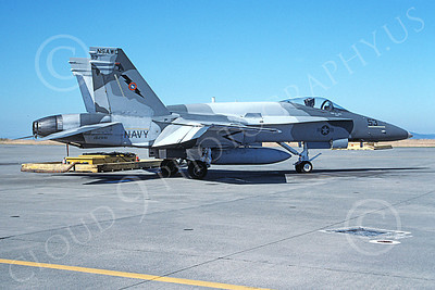 TOPG 00121 A static gray McDonnell Douglas F-18C Hornet USN 162891 TOP GUN NAS Fallon 10-1996 military airplane picture by Michael Grove, Sr