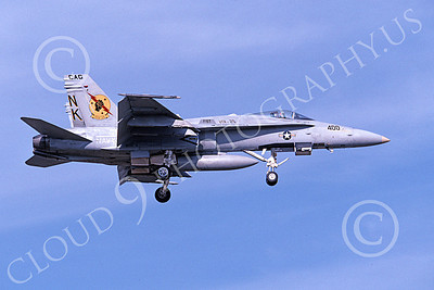 Boeing F-18C-USN 00160 A landing Boeing F-18C Hornet USN 164633 VFA-25 FIST OF THE FLEET CAG USS Abraham Lincoln 3-1997 military airplane picture by Michael Grove, Sr