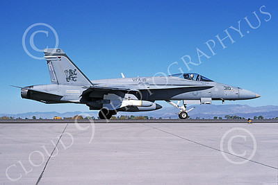 Boeing F-18C-USN 00071 A taxing Boeing F-18C Hornet USN 164673 VFA-15 VALIONS with large missile NAS Fallon 11-1994 military airplane picture by Michael Grove, Sr