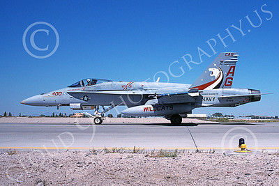 Boeing F-18C-USN 00205 A taxing colorful Boeing F-18C Hornet USN 164212 VFA-131 WILDCATS USS George Washington NAS Fallon 8-1995 military airplane picture by Michael Grove, Sr