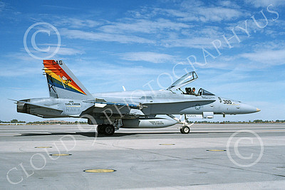 Boeing F-18C-USN 00109 A taxing colorful Boeing F-18C Hornet USN 164640 VFA-113 STINGERS USS Carl Vinson NAS Fallon 10-1995 military airplane picture by Michael Grove, Sr