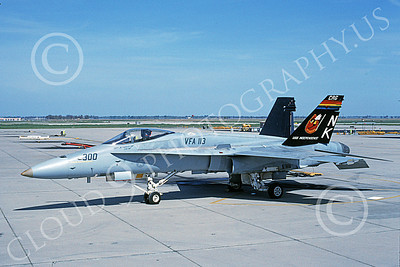 Boeing F-18C-USN 00141 A static Boeing F-18C Hornet USN VFA-113 STINGERS USS Independence NAS Fallon 4-1991 military airplane picture by Michael Grove, Sr