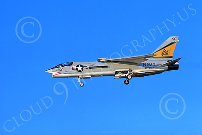 F-8USN 00008 A landing Vought F-8 Crusader jet fighter USN 146968 VF-302 STALLIONS 5-1973 military airplane picture by Michael Grove, Sr