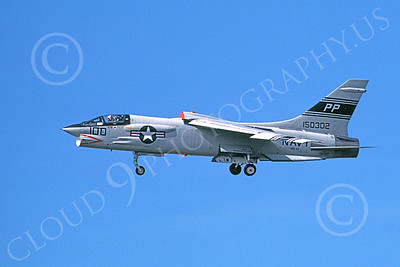 F-8USN 00024 A landing Vought F-8 Crusader jet fighter USN 150302 VFP-63 EYES OF THE FLEET PP code 4-1980 military airplane picture by Ron McNeil