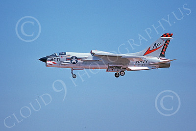 F-8USN 00026 A landing Vought F-8J Crusader jet fighter USN 150898 VF-24 RED CHECKERTAILS USS Hancock 10-1974 military airplane picture by Michael Grove, Sr