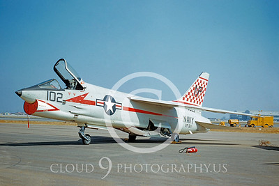 F-8USN 00015 Vought F-8 Crusader VF-211 10 Aug 1957 by William T Larkins