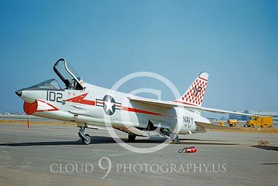 F-8USN 00015 Vought F-8 Crusader VF-211 10 Aug 1957 by William T Larkins