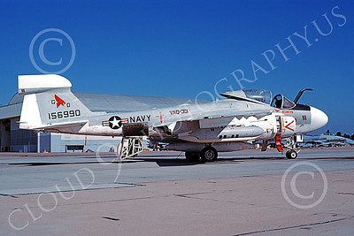 EA-6AUSN 00012 A static Grumman EA-6A Prowler USN 156990 VAQ-33 FIREBIRDS 11-1983 military airplane picture by Michael Grove, Sr